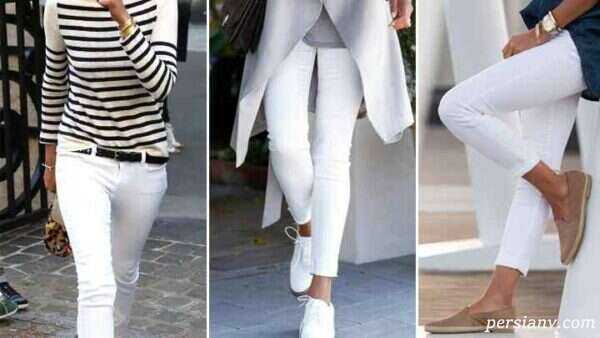 ست لباس با شلوار جین سفید