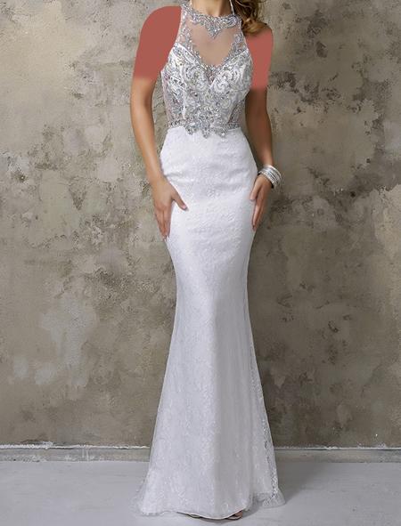 شیکترین لباس مجلسی سفید بلند