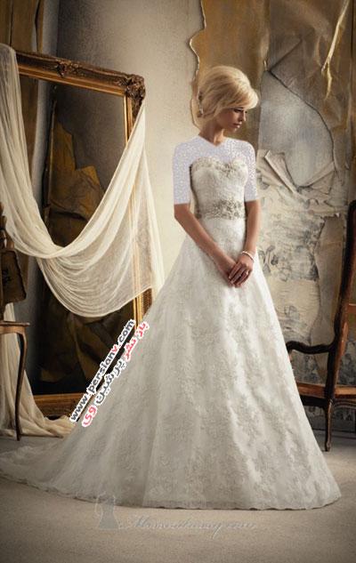 مدل های بسیار زیبایی از لباس عروس های دکلته +عکس