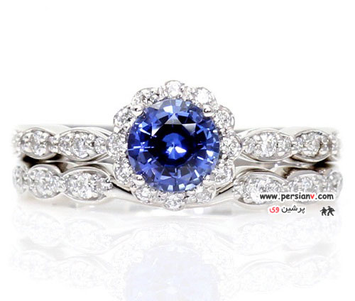 حلقه های نامزدی بسیار زیبای یاقوت آبی +عکس