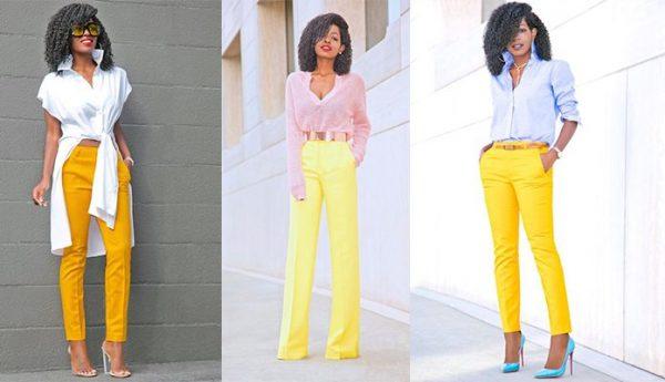 ست رنگ زرد لباس