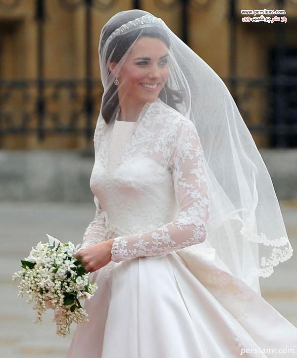 لباس عروس آستین توری کیت میدلتون