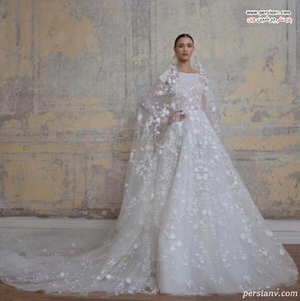 لباس عروس با گل های برجسته