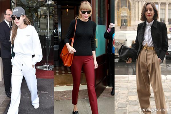 استایل شلوار های زنانه سفید خاکی زرشکی کاراملی