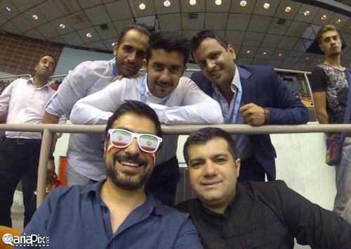 بازیگران در تماشای بازی والیبال ایران و لهستان + تصاویر