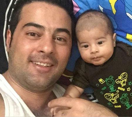 سلفی حمید اصغری خواننده کشورمان و پسر بانمکش + عکس