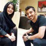 ساره بیات و دامادشان قوچان نژاد هنگام خوشحالی پس از برد ایران