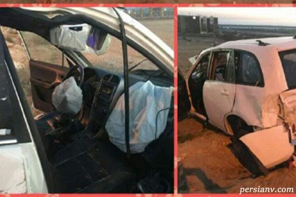ایربگ ماشین که بعد از تصادف باز شده