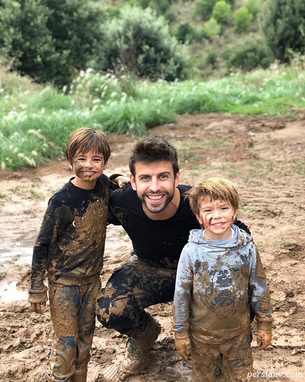 عکس های جرارد پیکه و شکیرا خواننده مشهور با پسرانش را ببینید