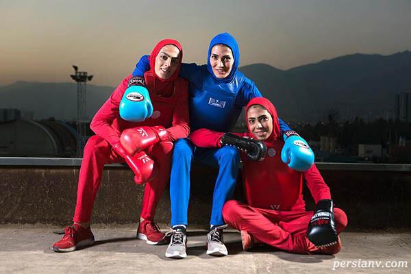 خواهران منصوریان قهرمانان ووشو در کنار هنرمندان مشهور