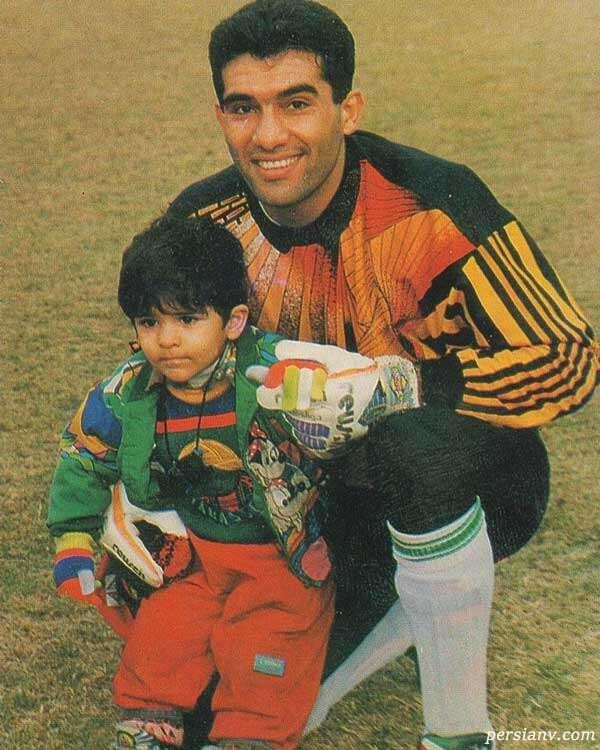 کودکی امیر عابدزاده در کنار پدرش در جام ملت های امارات