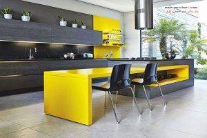 دکوراسیون منزل با ترکیب دو رنگ زرد و و طوسی +عکس