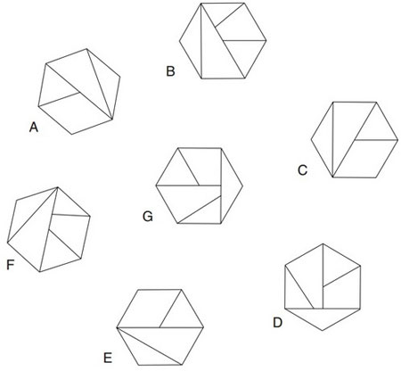 تست هوش حذف یکی از شش ضلعی ها
