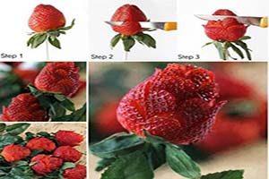 تزیین توت فرنگی به شکل گل های مختلف+تصاویر