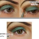 آرایش چشم بسیار زیبا با سایه سبز و قهوه ای