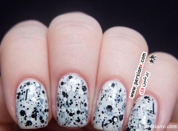 نمونه دیگری از طرحی ناخن سیاه و سفید