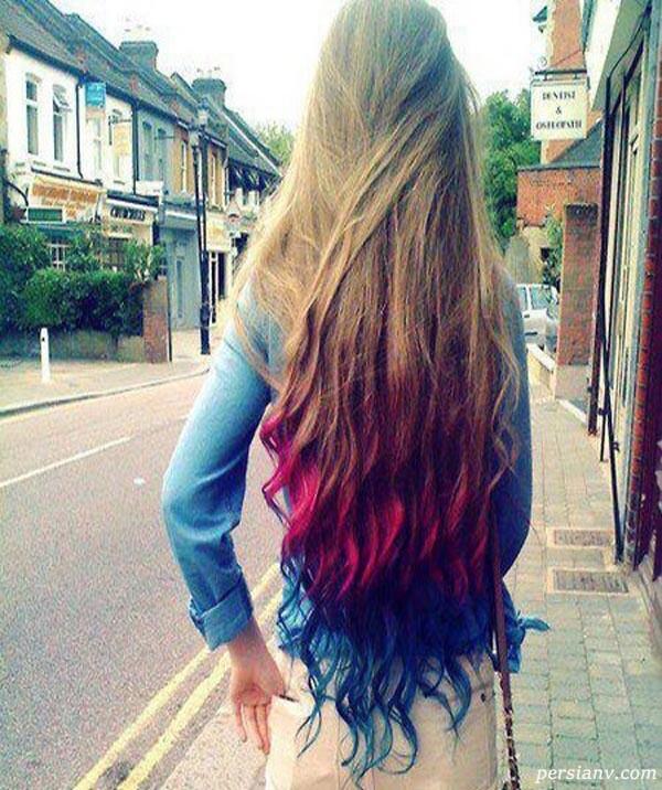 رنگ مو همراه با هایلایت فانتزی ابی