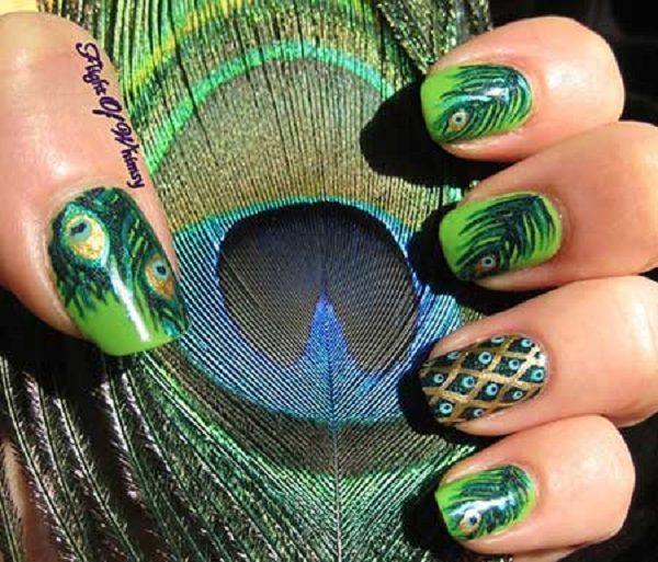طراحی ناخن مدل طاووسی