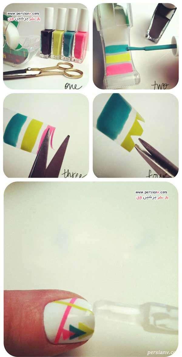 طراحی ناخن با کمک چسب نواری