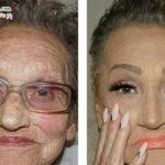 آرایش جالب و دیدنی مادربزرگ ۸۰ ساله