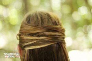 آموزش مدل موی ساده ای به صورت نیمه باز و نیمه جمع +عکس