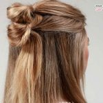آموزش مدل موی زیبای نیمه باز دوگره ای +عکس