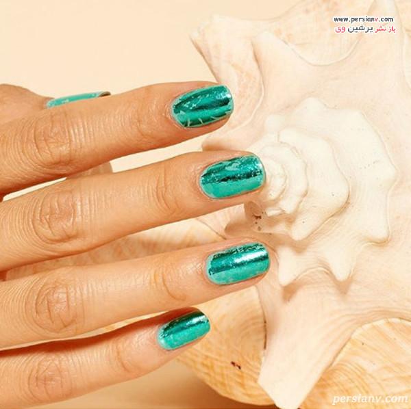دیزاین ناخن سبز آبی