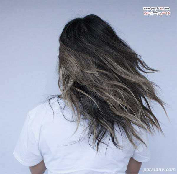 موهای مشکی با هایلایت های بلوند