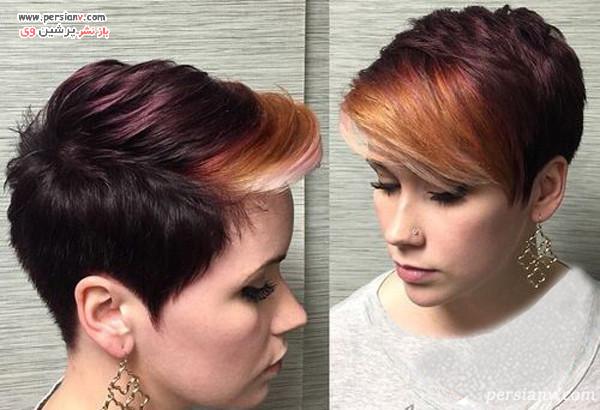 مدل مو کوتاه زنانه چند رنگ