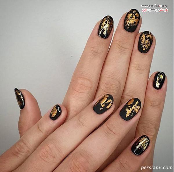 دیزاین ناخن طلایی مشکی