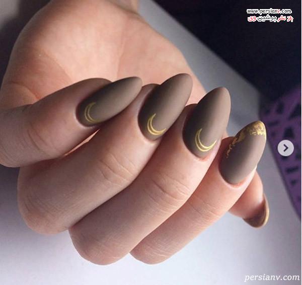 دیزاین ناخن طلایی با لاک مات