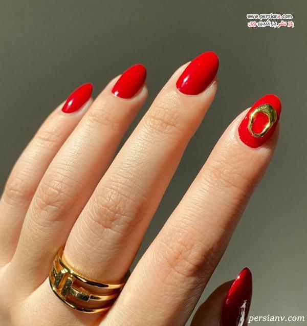 طراحی ناخن قرمز طلایی
