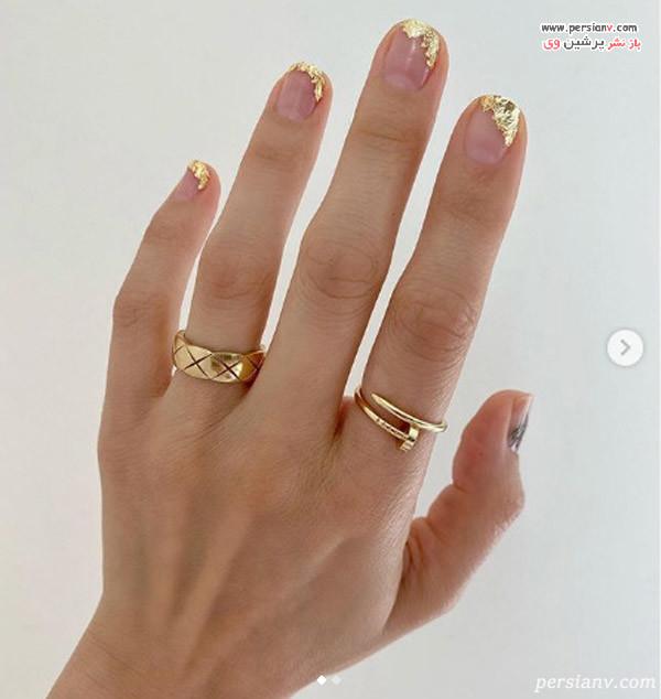 دیزاین ناخن با فویل طلایی