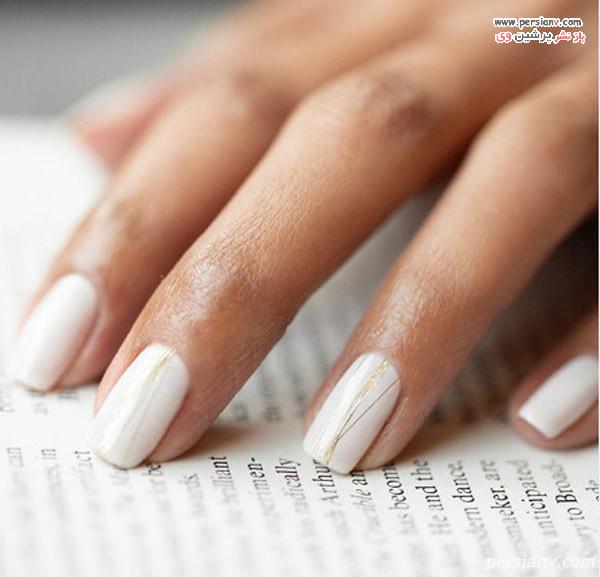 طراحی ناخن سفید و طلایی