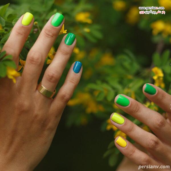 دیزاین ناخن در رنگ سبز