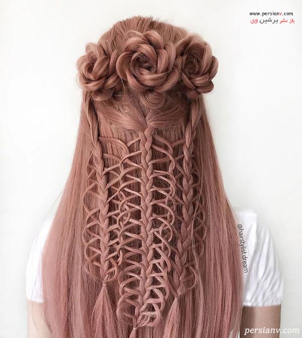 مدل مو به شکل بافت و گل