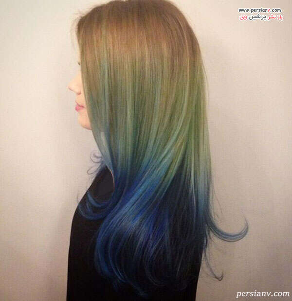 آمبره بلوند با سبز و آبی